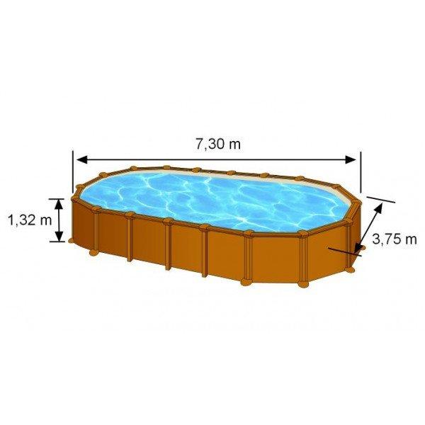 piscine hors sol acier aspect bois 730x375x132 piscine. Black Bedroom Furniture Sets. Home Design Ideas