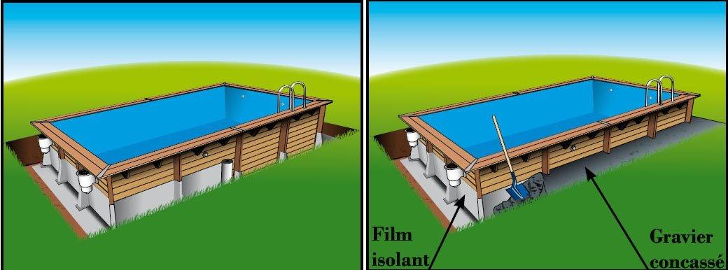 Piscine lin a 800x500x140 liner beige piscine hors sol bois for Piscine en bois enterre